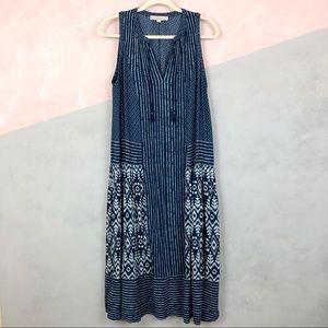LOFT Blue Boho Midi Dress With Tassels